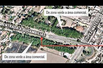 Con la resolución del TAE, las zonas verdes que están en el ingreso al Fraccionamiento Bugambilias cambiarán a zona comercial. Foto: Google Earth